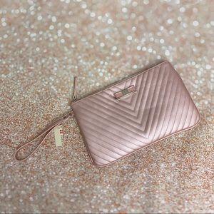 Handbags - BNWT rose gold pink pearl metallic cosmetic bag